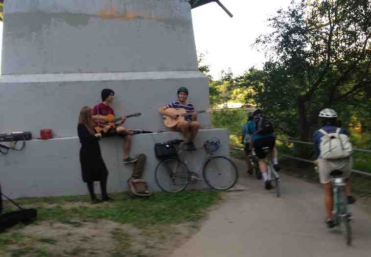 musicians on path